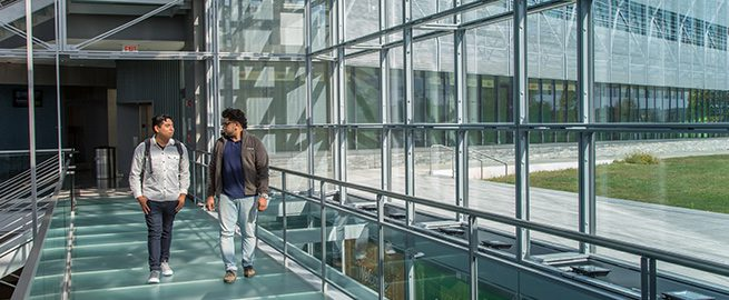 Students walking in the Gateway Center