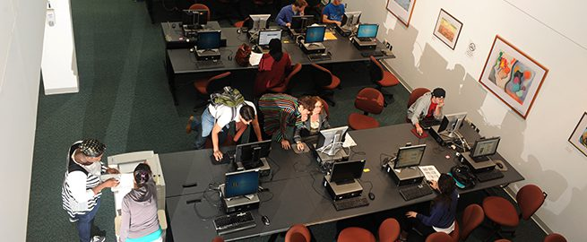 Students using computers in Harold L. Drimmer Library