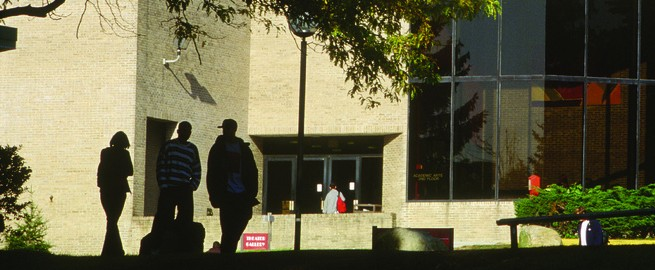 Students outside the Academic Arts Building