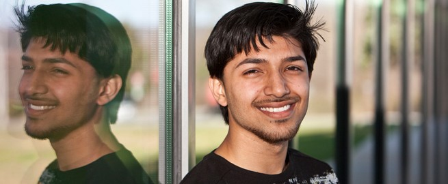 Smiling student in front of the Gateway Center