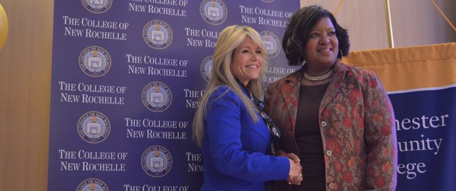 Representatives from Westchester Community College and the College of New Rochelle