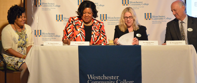 Representatives from Westchester Community College and the College of Westchester