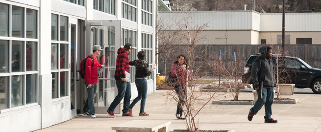 Students exiting the Westchester Community College Ossining extension center.