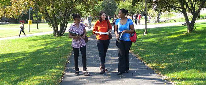 Students Walking on Campus Path