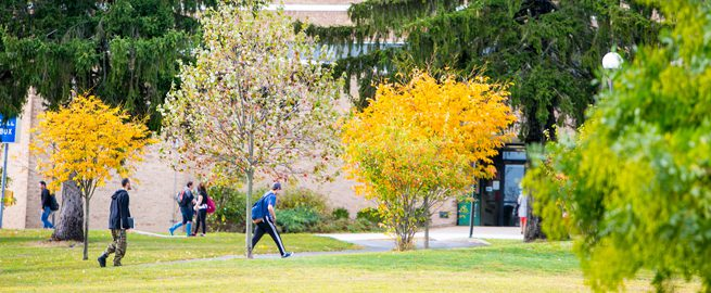 Students walking outside at theValhalla campus