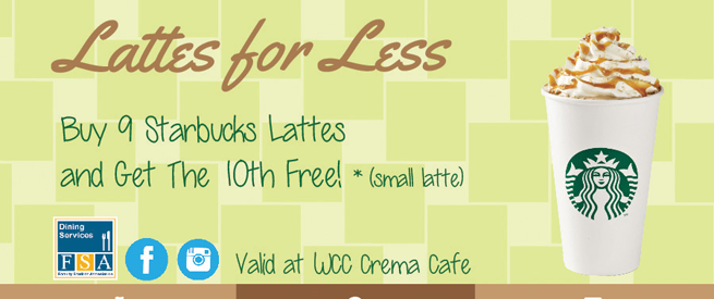 Lattes for less ad, buy nine, get tenth free