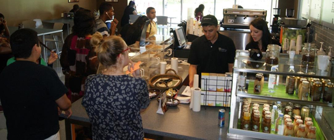 Customers at the Crema Cafe