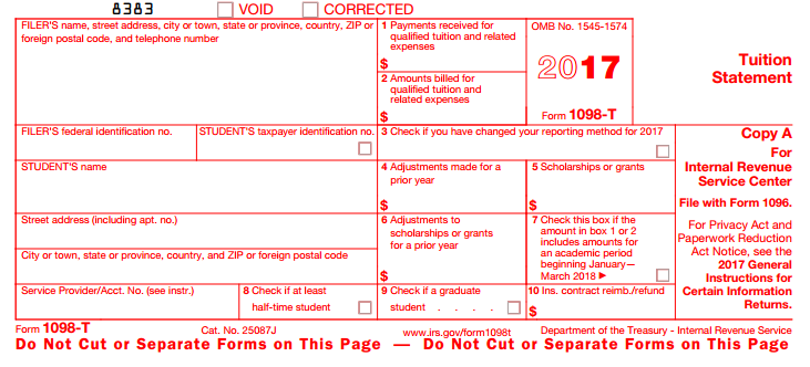 IRS 1098-T Tax Form - Westchester Community College