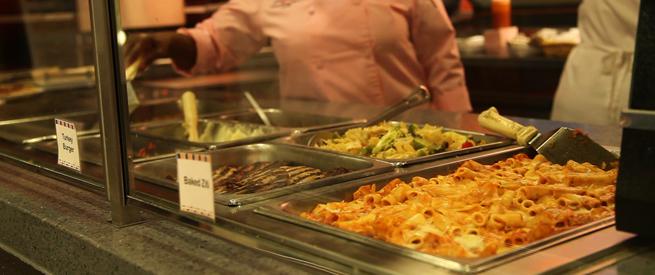 Lasagna in the cafeteria