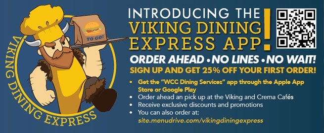 Viking Dining Express APP advertisement: Viking Express App - order ahead, no lines
