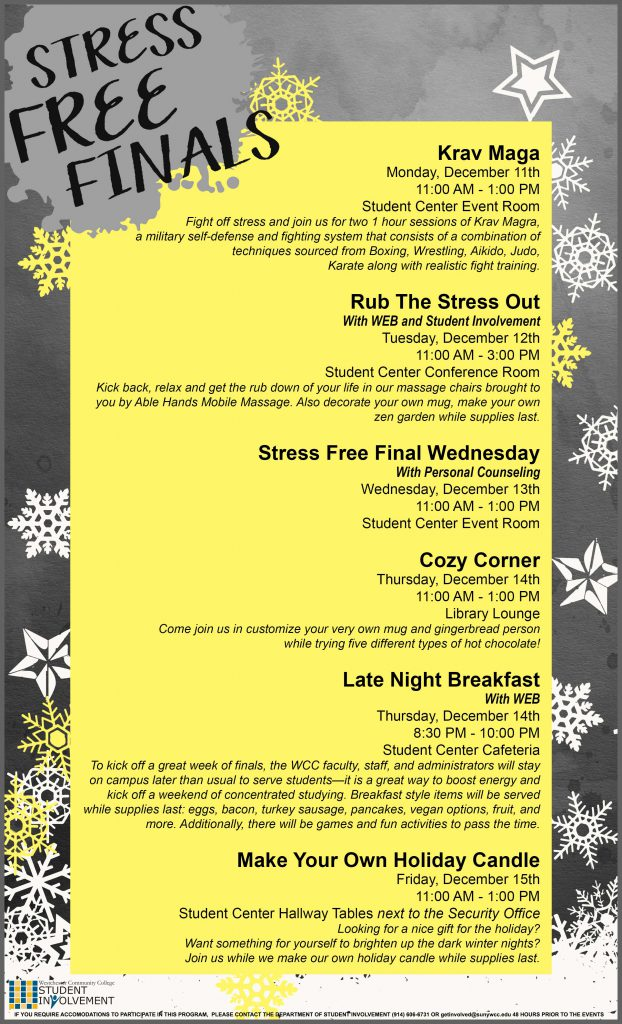 Stress Free Finals December Event Schedule