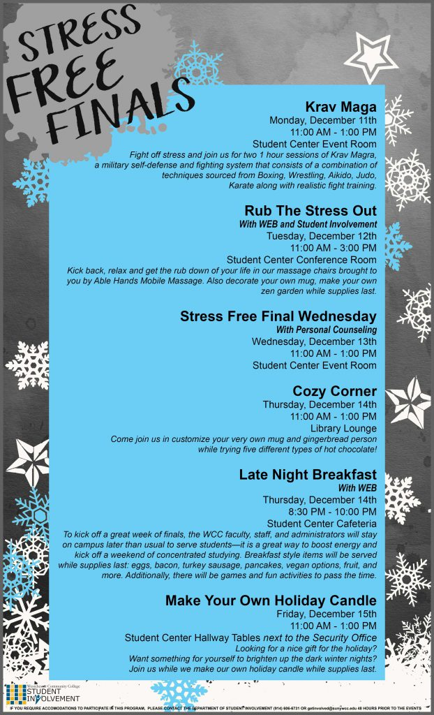 Stress Free Finals December Events