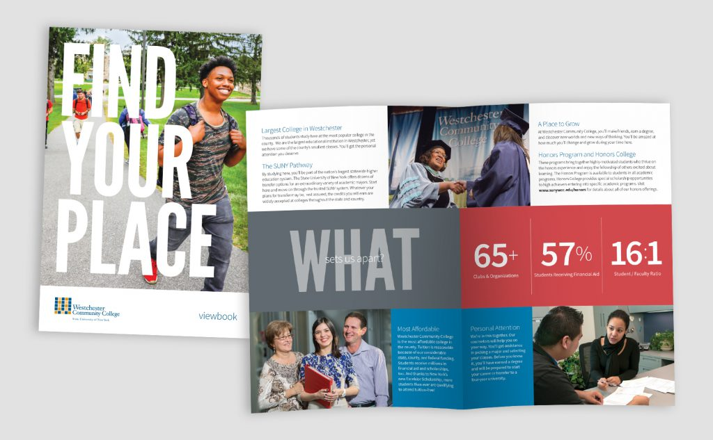 """What sets us apart?"" spread from Viewbook and cover"