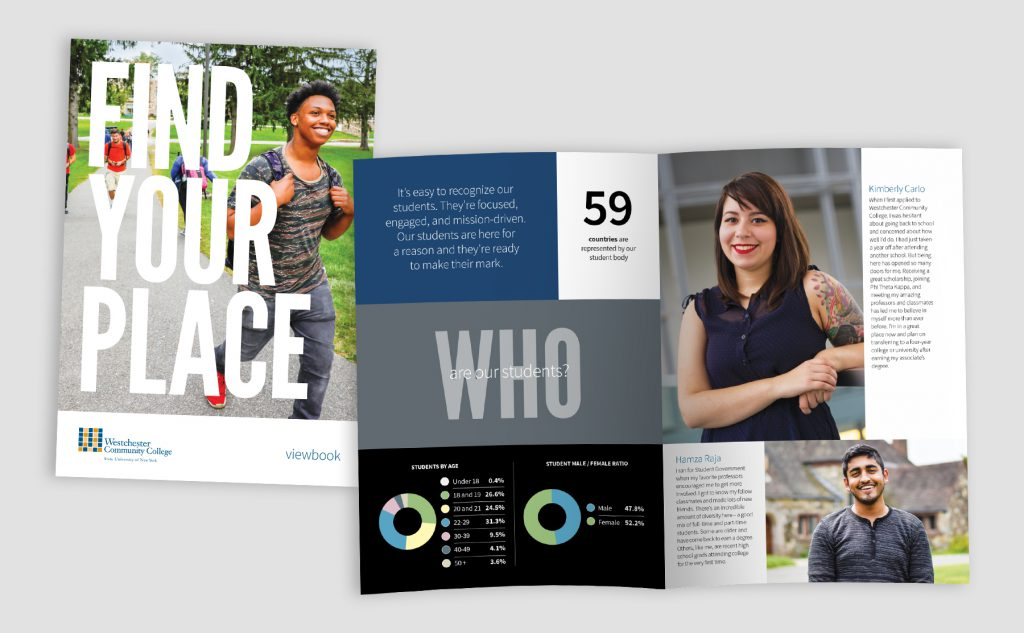 """Who are our students"" spread from Viewbook and cover"