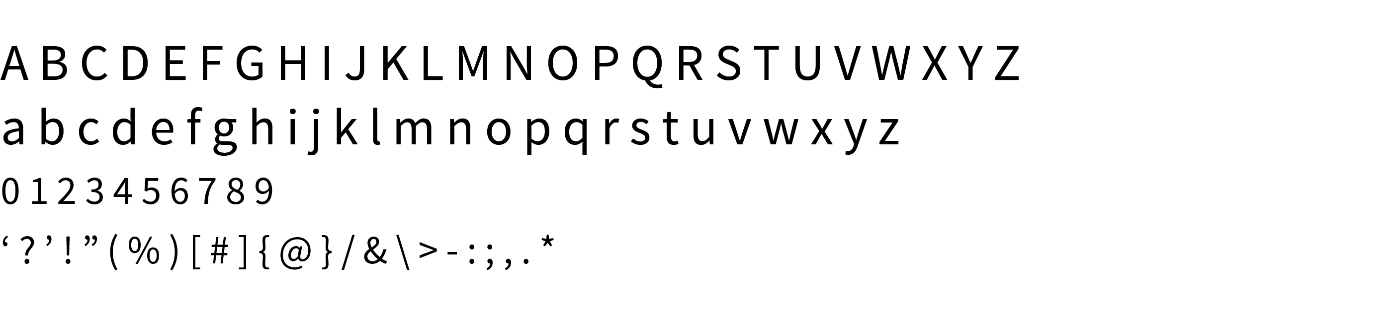 Type Specimen Source Sans Pro Regular