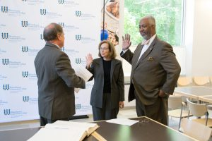 Deborah S. Raizes and Dr. Gregory Rrobeson Smith being sworn in as members of the Board of Trustees