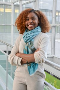 Student Mikali-Elon Wallace in the Gateway Center