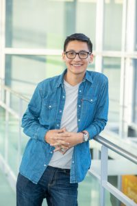 Student Anthony Sobrevilla-Miguel in the Gateway Center